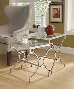 Pair of nesting side tables, nightstands, end tables.