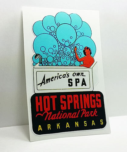 Hot Springs Arkansas Vintage Style Travel Decal / Vinyl Sticker, Luggage Label