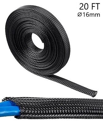 (20ft Expandable Sleeving Polyester Cable Wrap Wire Cord Hider Cover Organizer)