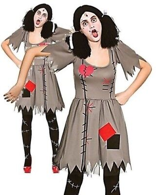 Halloween FREAKY VOODOO DOLL Evil Adult Fancy Dress Costume UK 6-24 (Freaky Doll Halloween Costume)
