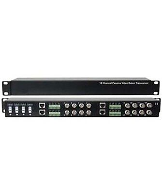 - 16 Channel CCTV Passive Video Balun Transceiver Hub to Camera RJ45 Cable 1U Rack