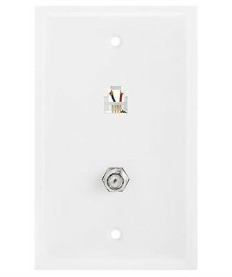 White Modular Wall Plate Telephone 4-Conductor Jack Phone RJ-11 & Coaxial Cable 4 Conductor Modular Jack