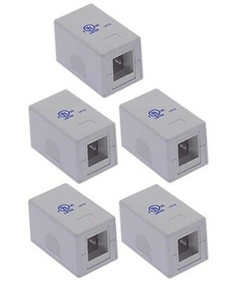5x 1 Port Blank Modular Wall Surface Mount Box for Snap-in Keystone Jack Insert Blank Surface Mount Box