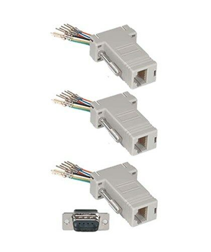 DB9 RS232 Female to RJ11//12 6P6C Phone Line Jack Modular Adapter Ivory