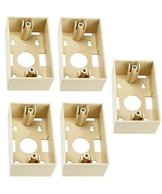 5x Single Gang Ivory Plastic Surface Mount Junction Box For Wall Plate