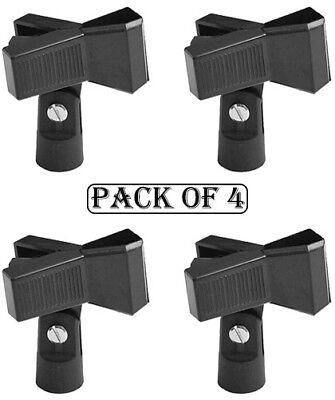 4x Universal Adjustable Microphone Accessory Mic Clip Holder Stand Black