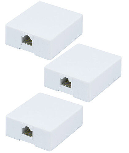 3x 1 port 8P8C RJ45 Cat5e Cat6 Network Cable Wall Surface Mount Box Adhesive