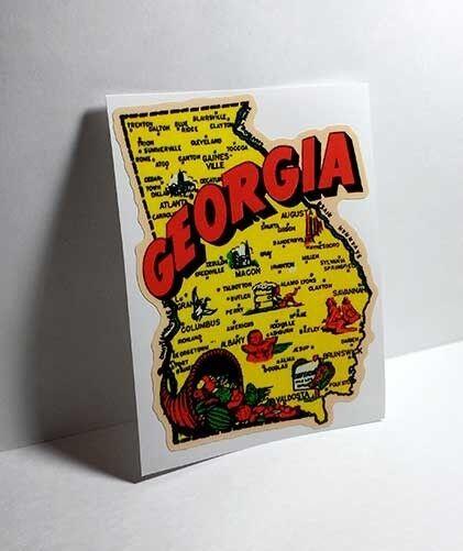 Georgia Vintage Style Travel Decal / Vinyl Sticker, Luggage Label
