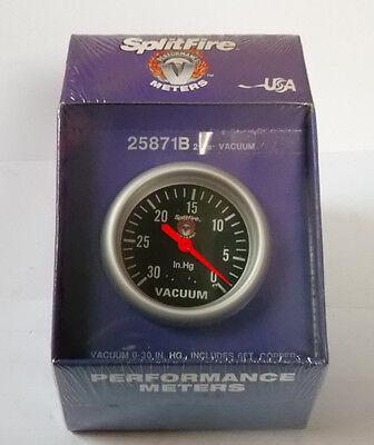 Splitfire (mech) vacuum gauge, 0-30 In.Hg, black face (67mm), 25871B