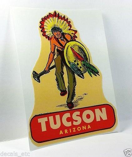 TUCSON ARIZONA Vintage Style Travel Decal / Vinyl Sticker, Luggage Label