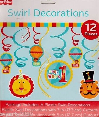 FISHER PRICE CIRCUS SWIRL DECORATIONS (12) ~ 1st First Birthday Party Supplies - 1st Birthday Circus Party Supplies