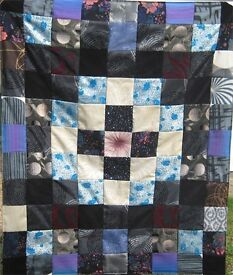 HOMEMADE PATCHWORK THROW - MOONS STARS £20 Black, Blue, Purple -Ideal Christmas Present bed or sofa