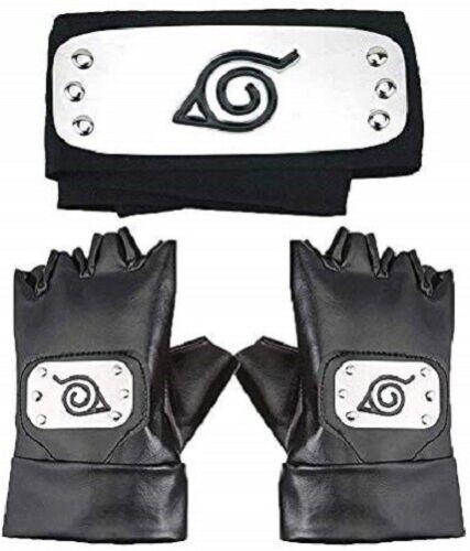 Naruto Headband, Leaf Village Headband and Cosplay Gloves Hatake Kakashi Ninja