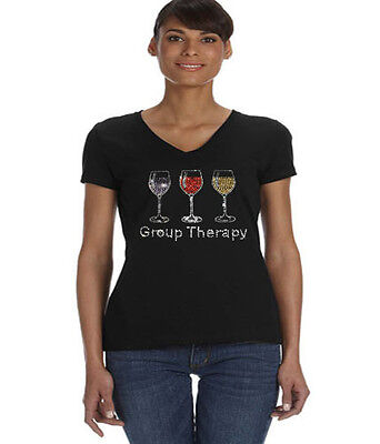- Group therapy t-shirt ladies tee shirt V-neck womens rhinestone wine design