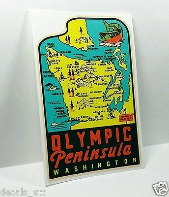 Olympic Peninsula Washington Vintage Style Travel Decal, Vinyl Sticker, label