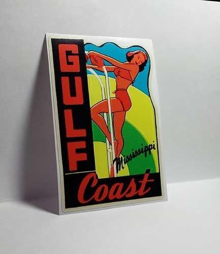 Gulf Coast Mississippi Vintage Style Travel Decal / Vinyl Sticker, Luggage Label