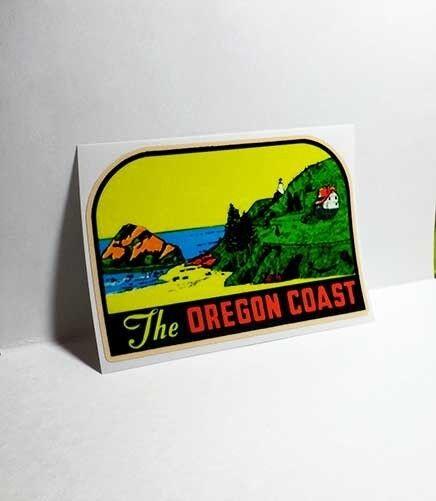 OREGON COAST Vintage Style Travel Decal, Vinyl Sticker, luggage label