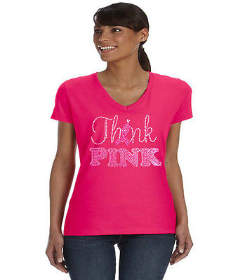 Breast cancer awareness month pink ribbon ladies tee shirt V-neck think pink