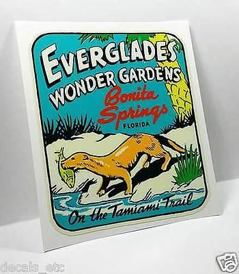 EVERGLADES WONDER GARDENS Vintage Style Travel Decal / Vinyl Luggage Sticker