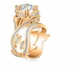Gold Round Lotus Ring available in 5 COLOURS new box 925 Sterling Silver