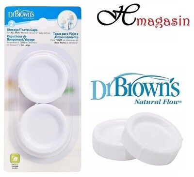 Dr Brown's Storage Wide-Neck Travel Caps-(2 Pack)seals DR Browns Natural - Browns Wide Neck Storage