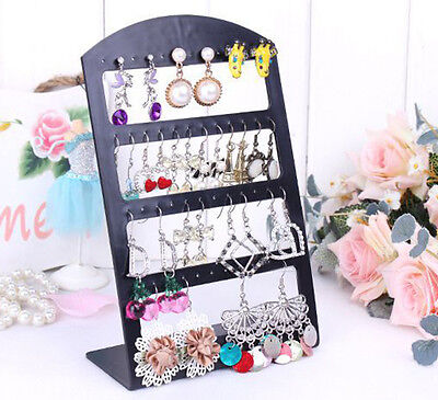 48 Holes Earring Jewelry Show Black Plastic Display Rack Stand Organizer Holder