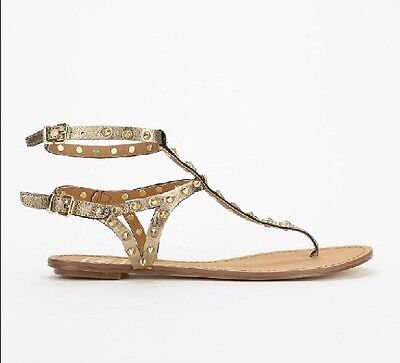 Dolce Vita Dv By Vanessa Mooney Gold Studded Sandals Size 6 Atara