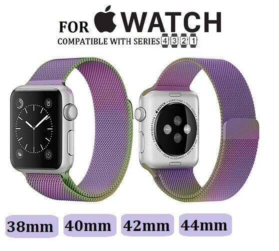 For Apple Watch Rainbow Generic Milanese Loop Steel Mesh Replacement Band Jewelry & Watches