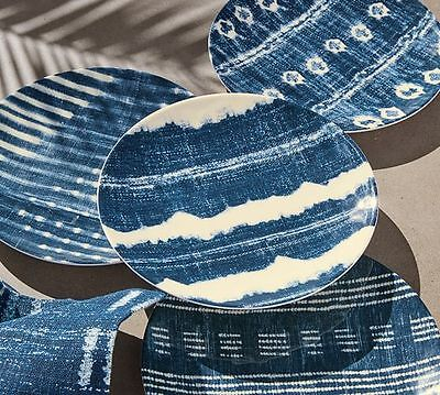 Pottery Barn ~SHIBORI Melamine~ Mixed Set/4 Salad Appetizer Dessert Plates ~ NEW