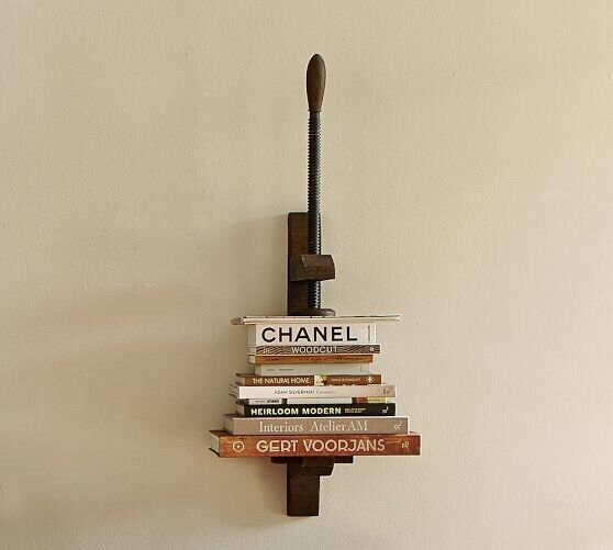 Pottery Barn Hanging Wall Book Press Shelf Steampunk Industrial