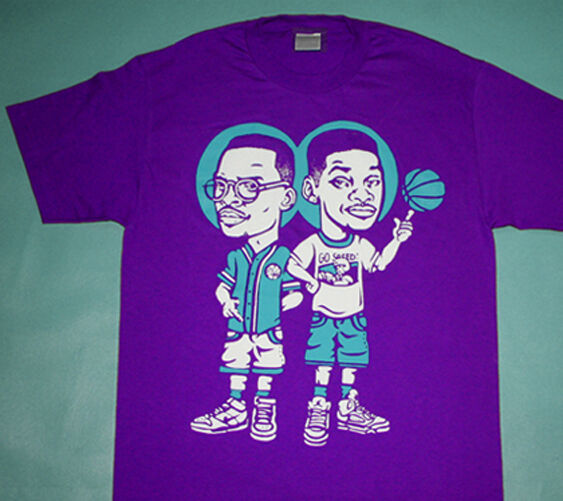 New v Fresh Prince of Bel Air JAzzy Jeff wearing grape jordan 5 shirt cajmear L