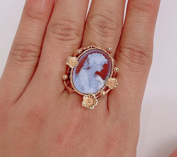 14k Gold Italian Goddess Rose Gold Cameo Ring Carved in Carnelian Shell