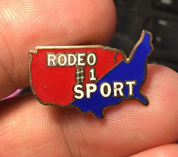 Rodeo enamel pin NOS vintage sport patriot western Texas hat lapel bag 80s USA