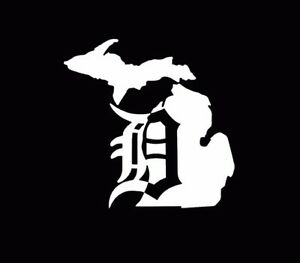 ... -Mitten-Old-English-D-Detroit-Tigers-5-Vinyl-Decal-Car-Window-White