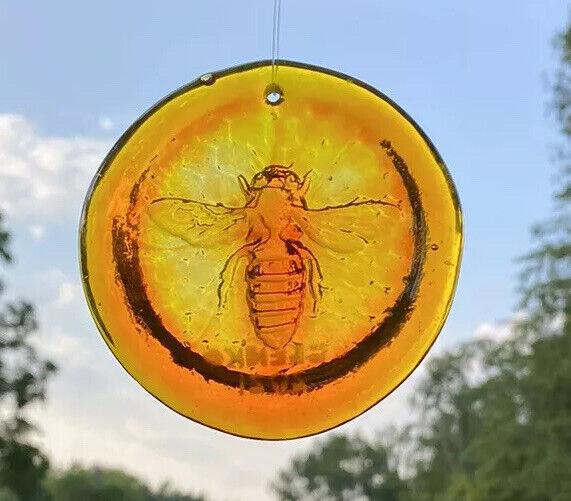 Blenko Glass Suncatcher - Bee - Tangerine