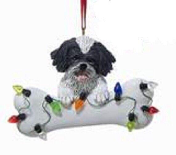 DogBone SHIH TZU BW w/Dog Bone & Lights Resin Christmas Ornament