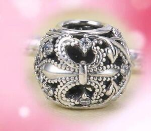 AUTHENTIC PANDORA Silver Charm bead Fleur De Lis Clear 791378CZ NEW