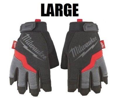 LARGE Fingerless Work Gloves Heavy Duty Reinforced Palms Black/Gray Milwaukee