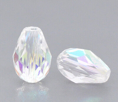 20 Clear AB Teardrop Faceted Crystal Glass Beads  11mm x 8mm   J10449