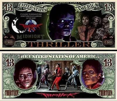MICHAEL JACKSON THRILLER Billet ONE MILLION DOLLAR! COLLECTION mickael halloween (Michael Jackson-thriller Halloween)