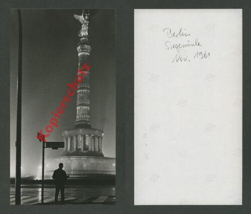 or. Foto Nachtaufnahme Siegessäule Großer Stern Altonaer Straße West-Berlin 1961