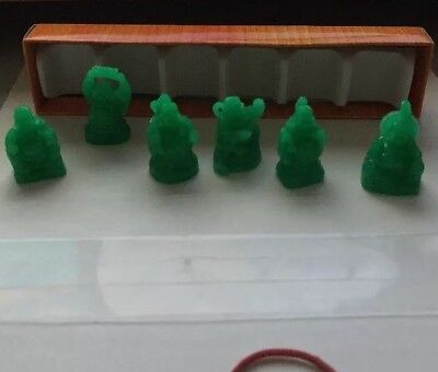 Laughing Happy Buddha Set of 6 Jade Statues Small Chinese Feng Shui Laugh Buddah