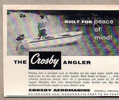 1959 Print Ad Crosby Angler Boats Aeromarine Grabill,IN