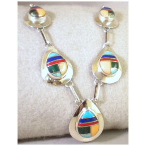 Southwestern Sterling Silver Teardrop Pendant Inlaid Multi Stone Necklace