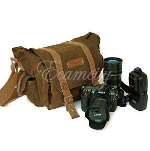 Canvas Vintage DSLR SLR Camera Messenger Shoulder Bag f. Nikon Sony Canon Pentax