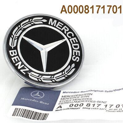 Mercedes Benz Hood Black Flat Laurel Wreath Badge 57mm Emblem OEM 0008171701 - Mercedes Benz Hood
