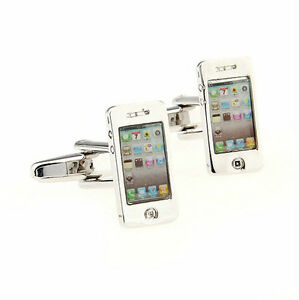 Silver-Color-Cell-Phone-Shape-Cufflinks-Novelty-Wedding-Shirt-Suit-Cuff-Links