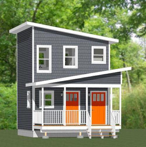 16x16 Tiny Duplex -- 441 sq ft -- PDF Floor Plan -- Model 2K