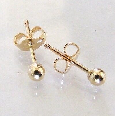 14K Gold Filled Tiny 3mm Ball Post, 1 Pair of Stud Earrings, Made in USA, - Gold Ball Post Earrings