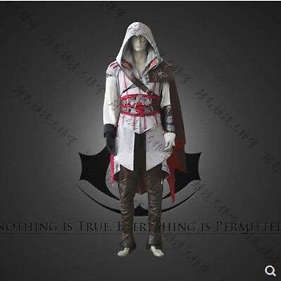 Assassin's Creed 2 Ezio Cosplay Costume Halloween  Mens full Outfit suits White - Assassin Creed Suits